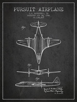 Transportation Drawing - 1942 Pursuit Airplane Patent - Charcoal 02 by Aged Pixel