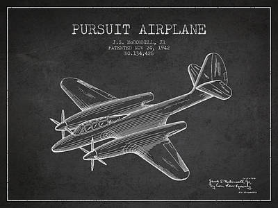 Transportation Drawing - 1942 Pursuit Airplane Patent - Charcoal 03 by Aged Pixel