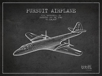 Transportation Drawing - 1942 Pursuit Airplane Patent - Charcoal by Aged Pixel