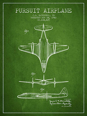 Transportation Drawing - 1942 Pursuit Airplane Patent - Green 02 by Aged Pixel
