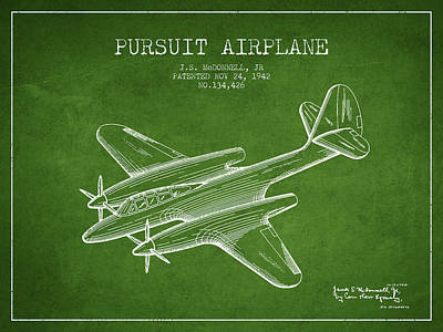Transportation Drawing - 1942 Pursuit Airplane Patent - Green 03 by Aged Pixel