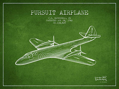 Transportation Drawing - 1942 Pursuit Airplane Patent - Green by Aged Pixel