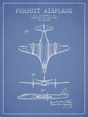 Transportation Drawing - 1942 Pursuit Airplane Patent - Light Blue 02 by Aged Pixel
