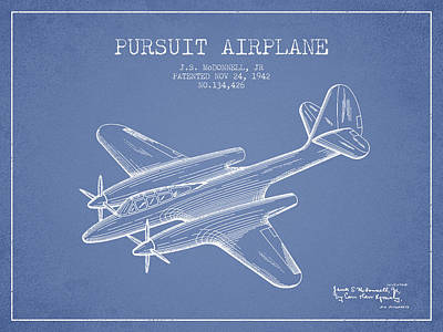 Transportation Drawing - 1942 Pursuit Airplane Patent - Light Blue 03 by Aged Pixel