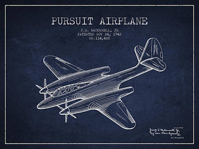 Airplane Drawing - 1942 Pursuit Airplane Patent - Navy Blue 03 by Aged Pixel