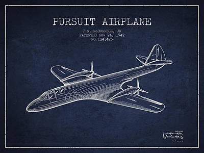 Transportation Drawing - 1942 Pursuit Airplane Patent - Navy Blue by Aged Pixel