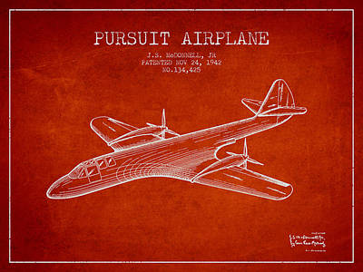 Transportation Drawing - 1942 Pursuit Airplane Patent - Red by Aged Pixel