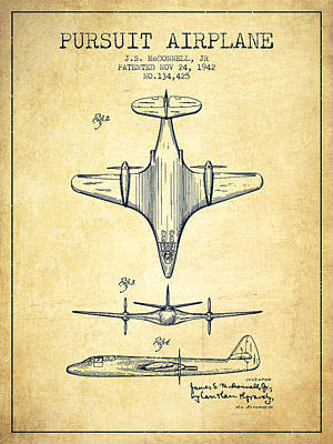 Transportation Drawing - 1942 Pursuit Airplane Patent - Vintage 02 by Aged Pixel