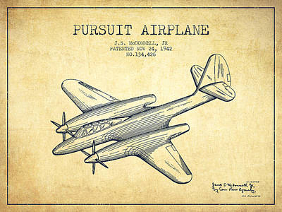 Transportation Drawing - 1942 Pursuit Airplane Patent - Vintage 03 by Aged Pixel