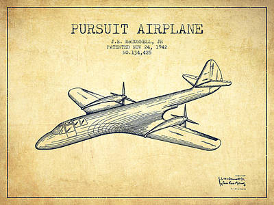 Transportation Drawing - 1942 Pursuit Airplane Patent - Vintage by Aged Pixel