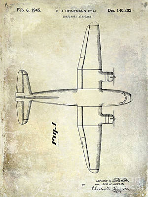 1945 Transport Airplane Patent Print by Jon Neidert
