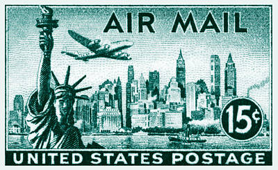 Lockheed Aircraft Painting - 1947 New York Air Mail Stamp by Historic Image