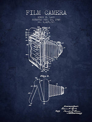 1948 Film Camera Patent - Navy Blue - Nb Print by Aged Pixel