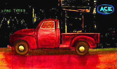 Christmas Painting - 1949 Chevy Pickup Neon by Ken Figurski