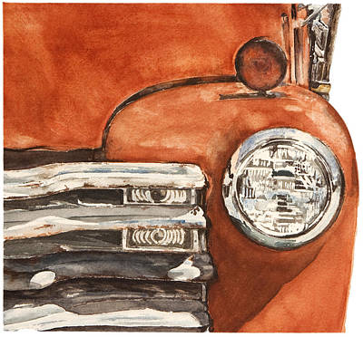 Jana Painting - 1949 Red Chevy by Jana L Bussanich