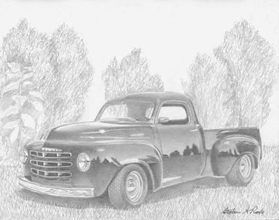 Classic Truck Drawing - 1949 Studebaker Pickup Truck Art Print by Stephen Rooks