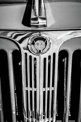 Photograph - 1949 Willys Jeepster Hood Ornament And Grille -0225bw by Jill Reger