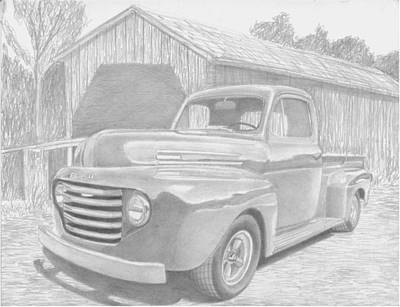 1950 Ford Pickup Truck Art Print Print by Stephen Rooks