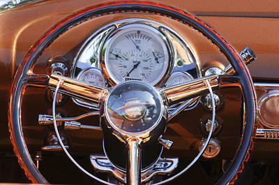 1950 Oldsmobile Rocket 88 Steering Wheel 2 Print by Jill Reger