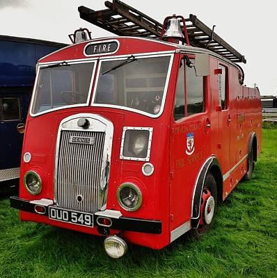 Devon Photograph - 1950s Dennis Fire Engine by Richard Brookes