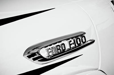 Photograph - 1950's Ford F-100 Fordomatic Pickup Truck Emblem -0129bw by Jill Reger