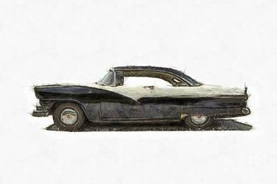 1950s Ford Fairlane Crown Victoria Pencil Print by Edward Fielding