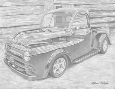 Classic Truck Drawing - 1951 Dodge Pickup Truck Art Print by Stephen Rooks