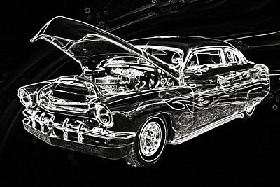 Street Rod Drawing - 1951 Mercury Classic Car Drawing 050.02 by M K  Miller