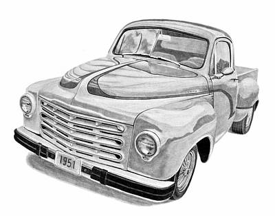 Classic Truck Drawing - 1951 Studebaker Pickup Truck by Daniel Storm