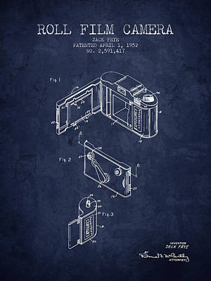 1952 Roll Film Camera Patent - Navy Blue - Nb Print by Aged Pixel