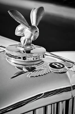 Photograph - 1954 Bentley R-type Hood Ornament -0493bw by Jill Reger