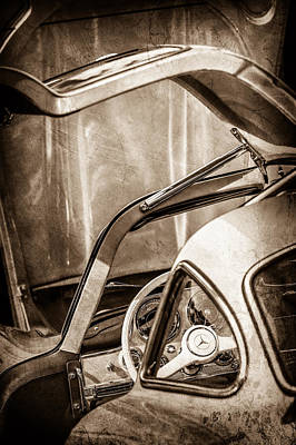 Mercedes Benz 300 Classic Car Photograph - 1954 Mercedes-benz 300sl Gullwing Steering Wheel -1653s by Jill Reger