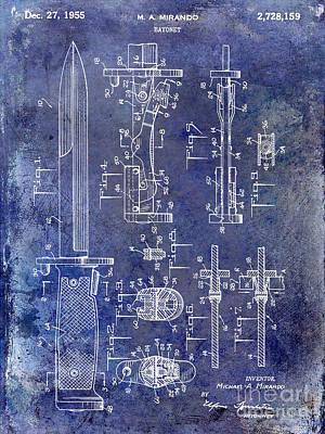 1955 Bayonet Patent Blue Print by Jon Neidert