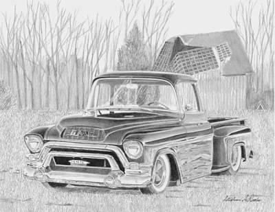 1955 Gmc Pickup Truck Art Print Original by Stephen Rooks