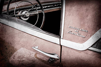 Lincoln Photograph - 1955 Lincoln Indianapolis Boano Coupe Side Emblem - Steering Wheel -0358ac by Jill Reger