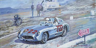 1955 Painting - 1955 Mercedes Benz 300 Slr Moss Jenkinson Winner Mille Miglia 01-02 by Yuriy Shevchuk
