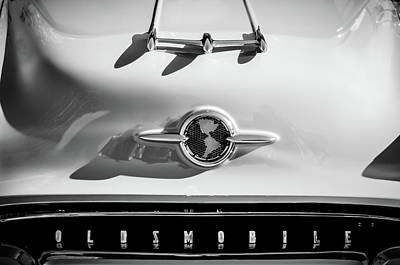 Photograph - 1955 Oldsmobile Rocket 88 Hood Ornament -0275bw by Jill Reger