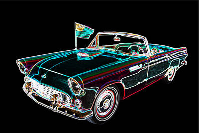 Street Rod Drawing - 1955 Thunderbird Drawing Fine Art Prints 1273.02 by M K  Miller