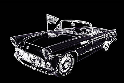 Street Rod Drawing - 1955 Thunderbird Drawing Fine Art Prints 1274.01 by M K  Miller