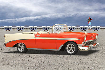 Motel Digital Art - 1956 Chevrolet Belair Convertible by Mike McGlothlen