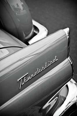 Photograph - 1956 Ford Thunderbird Emblem -0144bw by Jill Reger