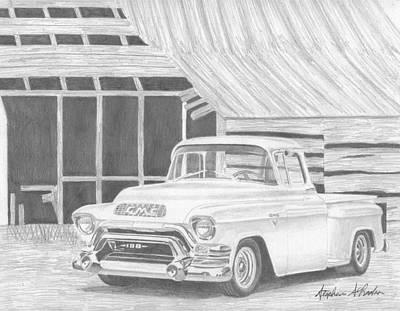 Classic Truck Drawing - 1956 Gmc Pickup Truck Art Print by Stephen Rooks