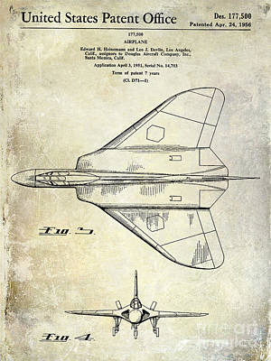 1956 Jet Airplane Patent 2 Blue Print by Jon Neidert