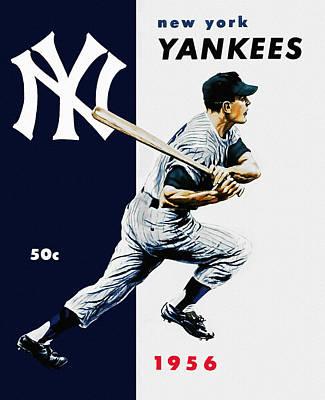 Yankee Stadium Painting - 1956 New York Yankee Program by Big 88 Artworks