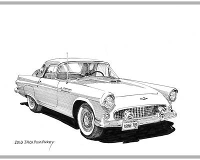 1956 Thunderbird Print by Jack Pumphrey