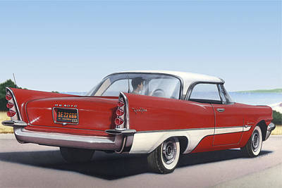 1957 De Soto Car Nostalgic Rustic Americana Antique Car Painting Red  Print by Walt Curlee