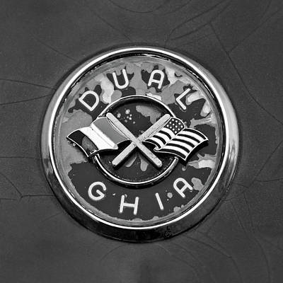 Photograph - 1957 Dual Ghia Convertible Coupe Emblem -0446bw by Jill Reger