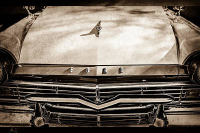 Ford Custom Photograph - 1957 Ford Custom 300 Series Ranchero Grille Emblem -0465s by Jill Reger
