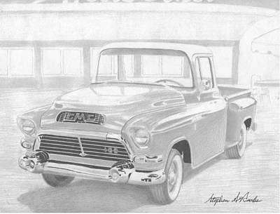 1957 Gmc Pickup Truck Art Print Original by Stephen Rooks