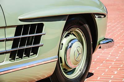 Mercedes Benz 300 Classic Car Photograph - 1957 Mercedes-benz 300 Sl Roadster Wheel Emblem -0121c by Jill Reger